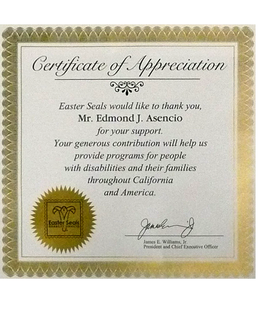 certificate for sponsoring Easter Seals organization